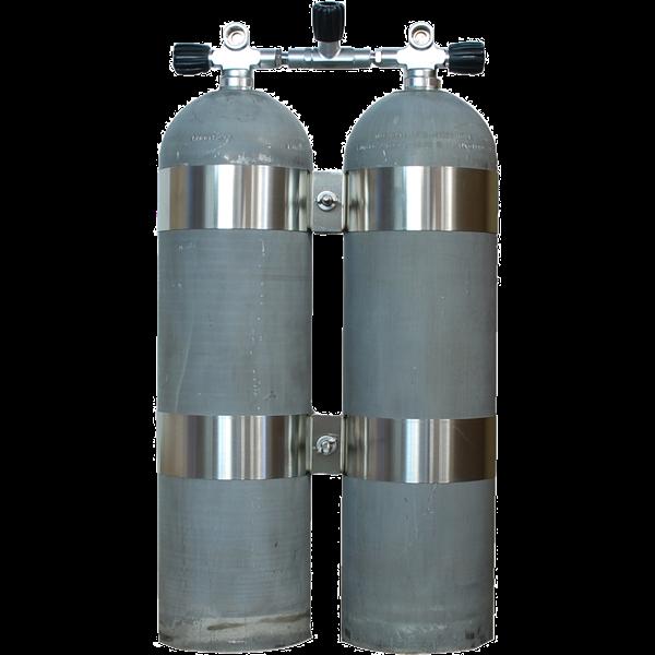 MES Aluminium Doppelgerät 2x 11,1l 207bar natur mit Absperrbrücke und V4tec Schellen