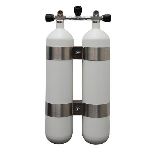Polaris 2x10L 230bar Breathing Gas Doppelgerät mit G5/8 Ventilsatz, Absperrbrücke und V4 Tec Schelle