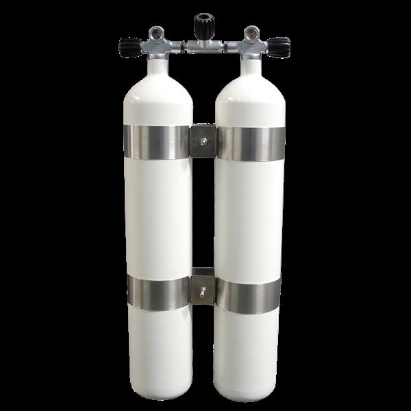 Polaris 2x8,5L 232bar Breathing Gas Doppelgerät mit G5/8 Ventilsatz, Absperrbrücke und V4 Tec Schell