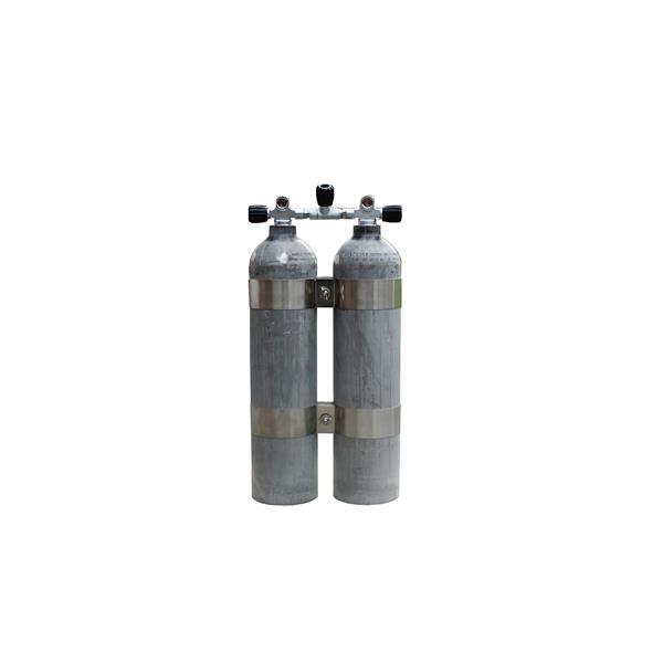 MES Aluminium Doppelgerät 2x 7l 200bar natur mit Absperrbrücke und V4tec Schellen